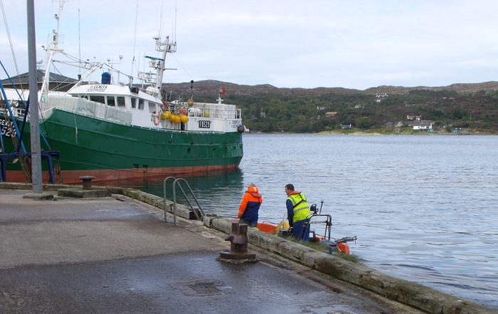 A middle-sized trawler in the harbour