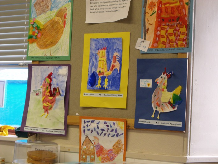 A small part of the gallery - children's drawings of chickens