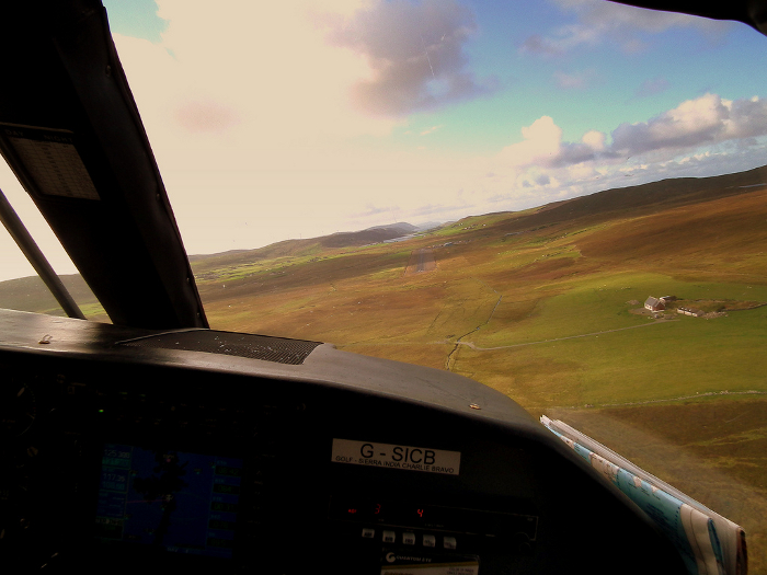 A view of the island of Foula - from the cockpit of a plane