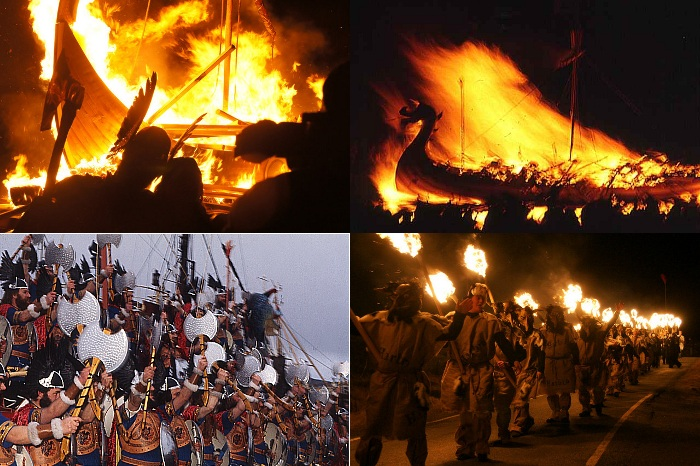 Collage of scenes from Up Helly Aa celebrations