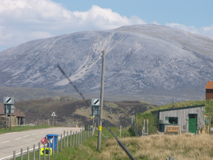 Elphin sits just along from Craig Liath - marble is quarried is just to the left of the hill