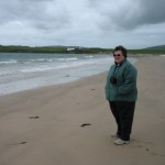 Lynne enjoying 'summer' on one of Orkney's superb beaches