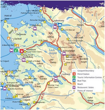 Map of the North West Highlands covered by the Geopark