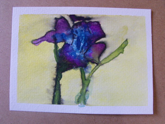 My very first 'Zen' ink painting – of a gladiolus flower