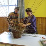 Sharon and Claire getting to grips with the ever growing basket