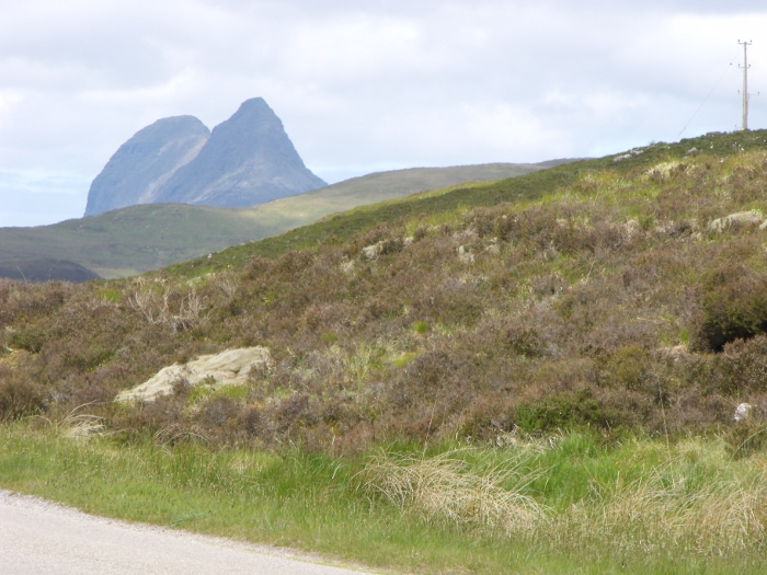 Suiliven seen from beyond Ledmore Junction on the road to Lairg