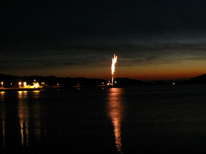 Sunset over the sea - a dramatic backdrop for the firework display at the end of the Festival
