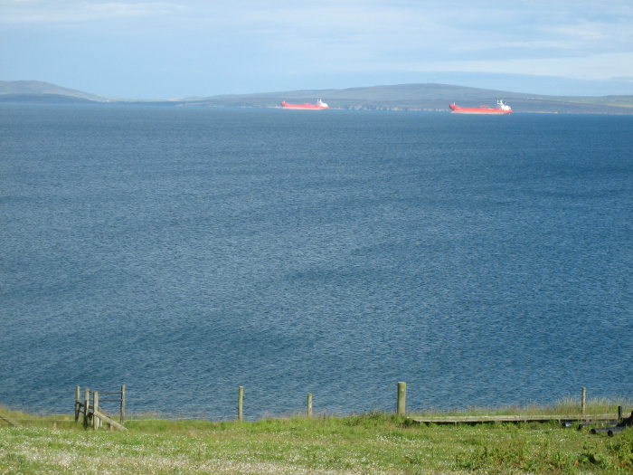 Tankers anchored on Scapa Flow.