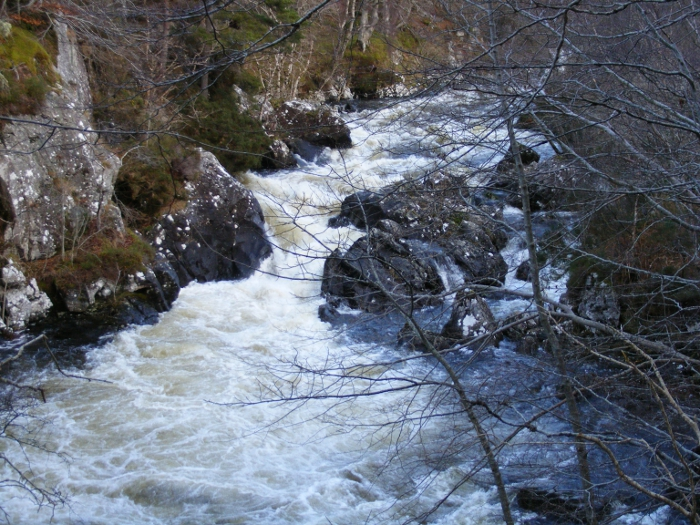 The Inver river narrowed into rapids