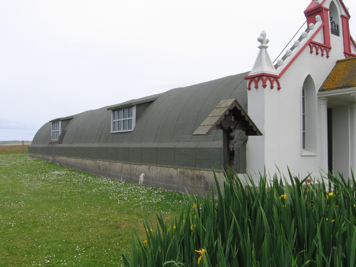 The Italian Chapel form the side! It was created out of an army Nissan hut by Italian POWs during the second World War