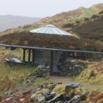 The amazing interactive centre with its turf roof and solar panel
