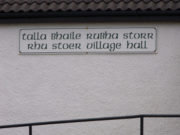 The bi-lingual sign on the hall