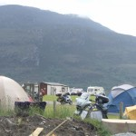 The camp-site next to the car park is very busy at this time of year