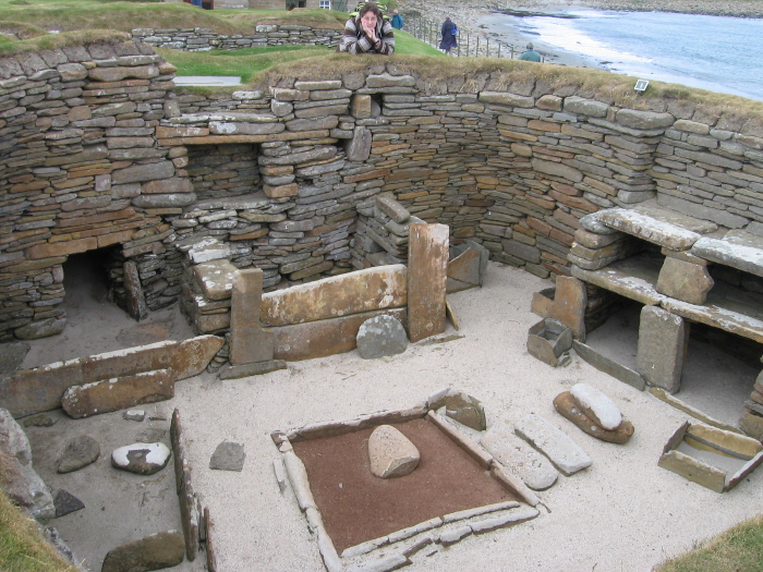The inside of one of the Mesolithic houses at Skara Brae. Everything that we need in our lives is represented here - except maybe tv!