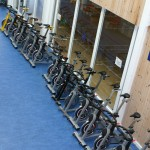 The static bikes lined up in readiness to go into the gym for those mad spinning types to use