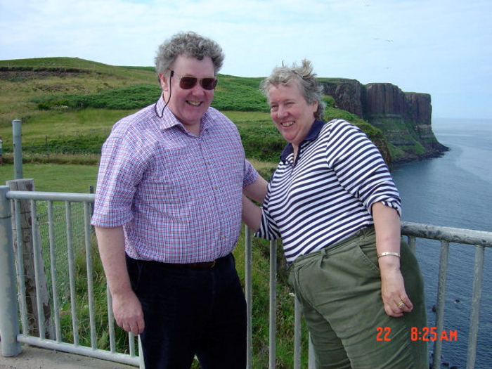 The two of us at the Kilt Falls on Skye - both well overweight.  My husband is also now a shadow of his former self!