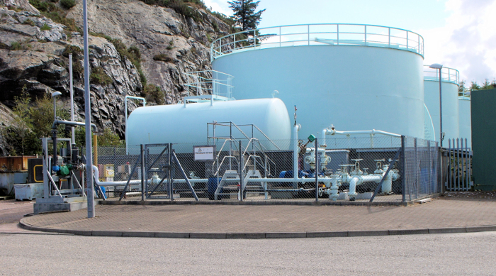 A view of the fuel tanks - a reminder that Lochinver is a working port