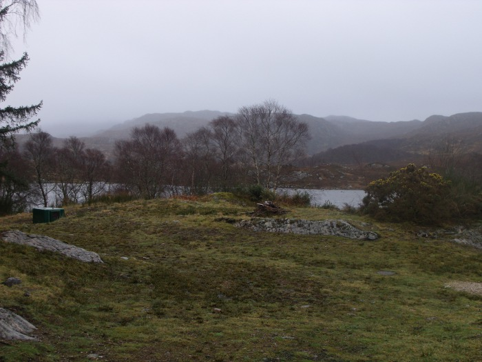 The view out over the loch on a rather misty morning