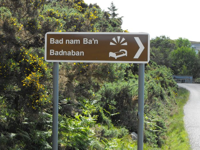 This sign for Badnaban has been here for years - with the erroneous apostrophe!