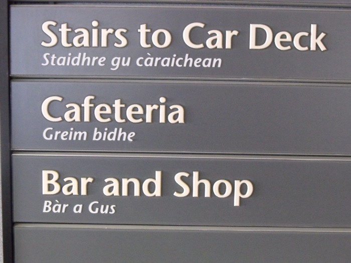 Bilingual sign board in English and Gaelic